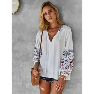 Embroidered bishop sleeve blouse tunic boho top